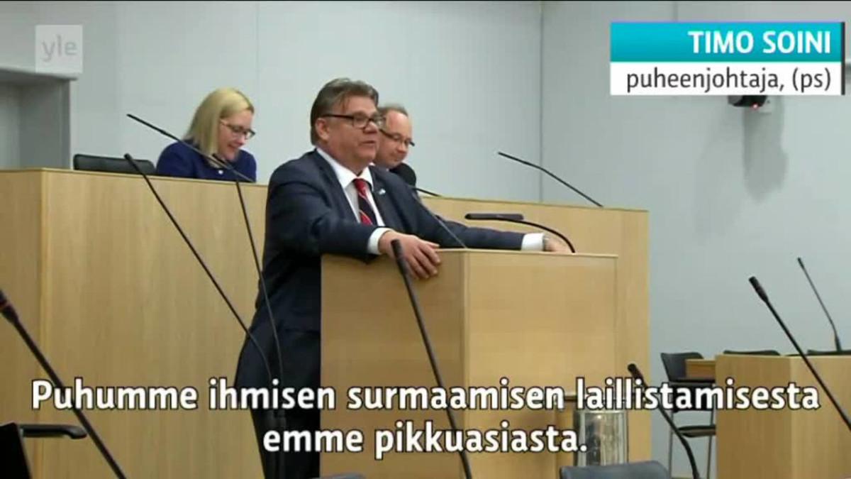 Uutisvideot: Timo Soini vastustaa eutanasiaa