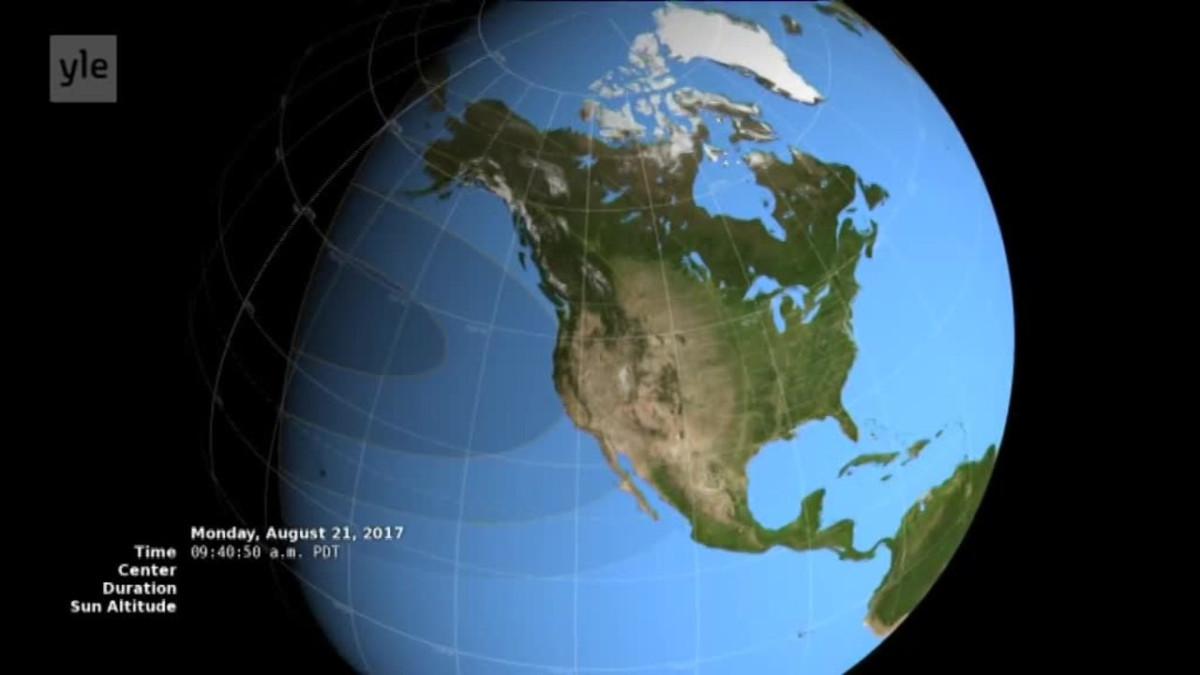 Uutisvideot: Näin Yhdysvaltain auringonpimennys etenee