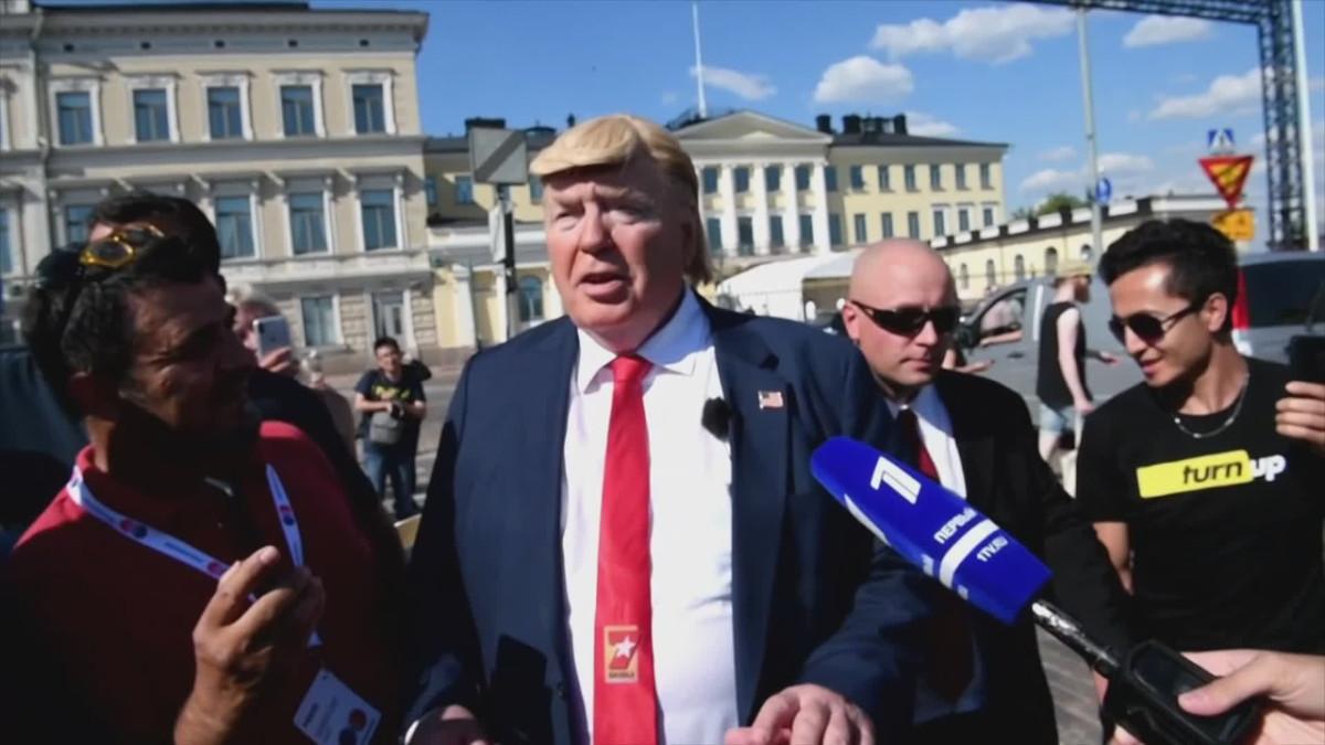 Trumpin kaksoisolento Helsingissä. Video: Martti Kainulainen/Lehtikuva.