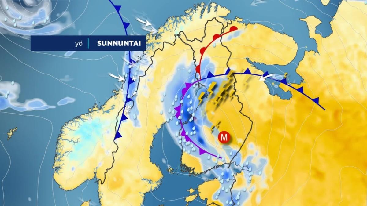Kaakosta leviää ukkosia Suomeen