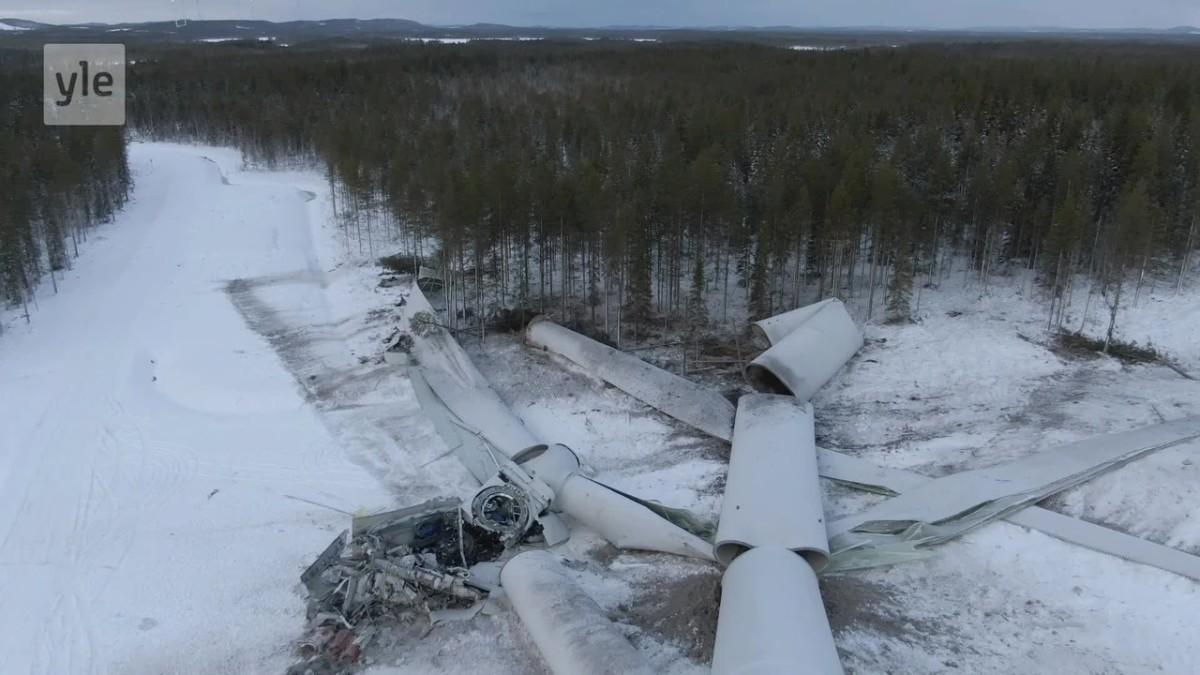 Tuulivoimala romahti Pohjois-Ruotsin Skellefteåssa