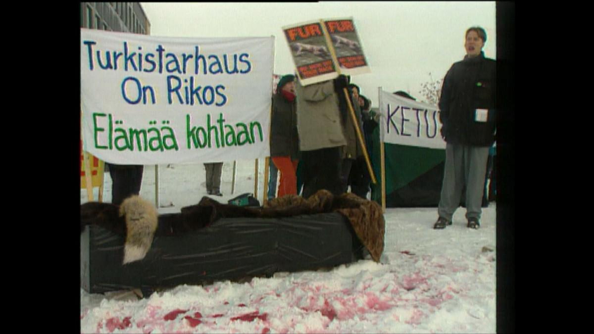Turkistarhauksen vastaisia mielenosoittajia Kauhavalla 1.12.1995