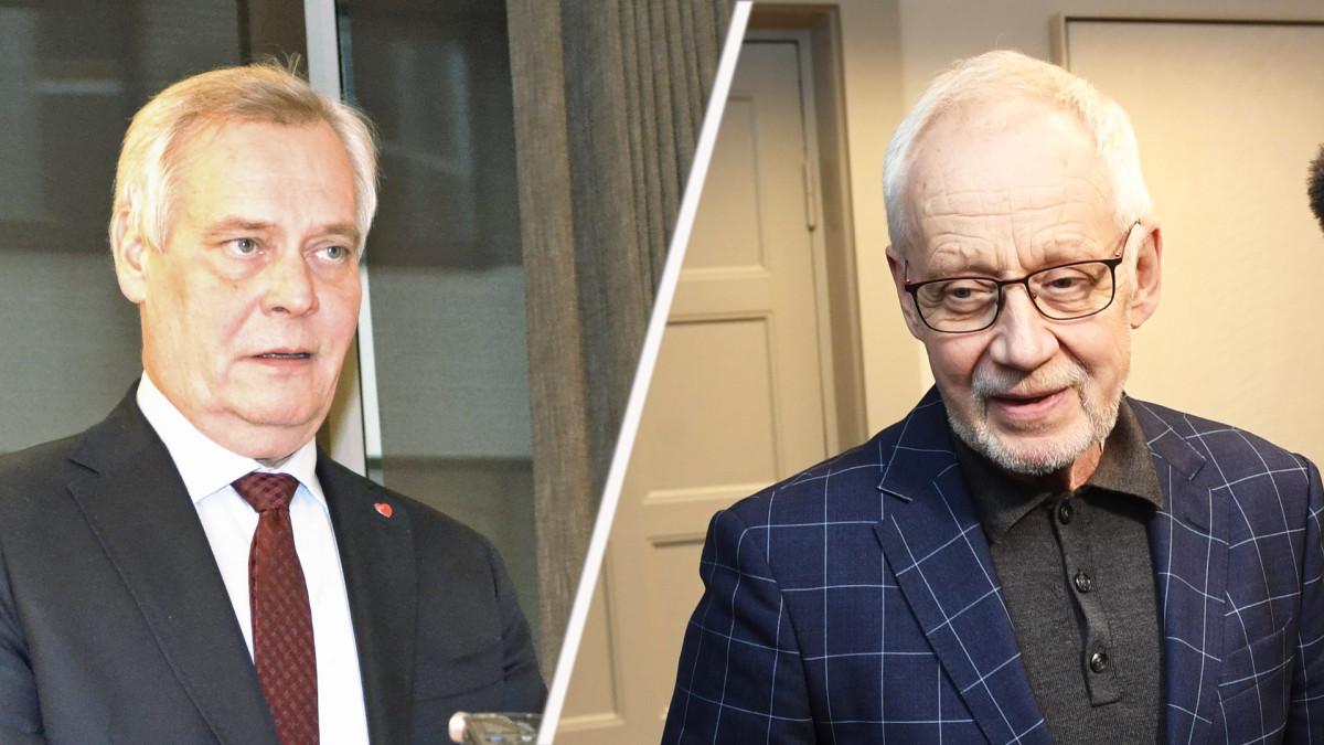 Pääministeri Antti Rinne ja Postin hallituksen puheenjohtaja Markku Pohjola.