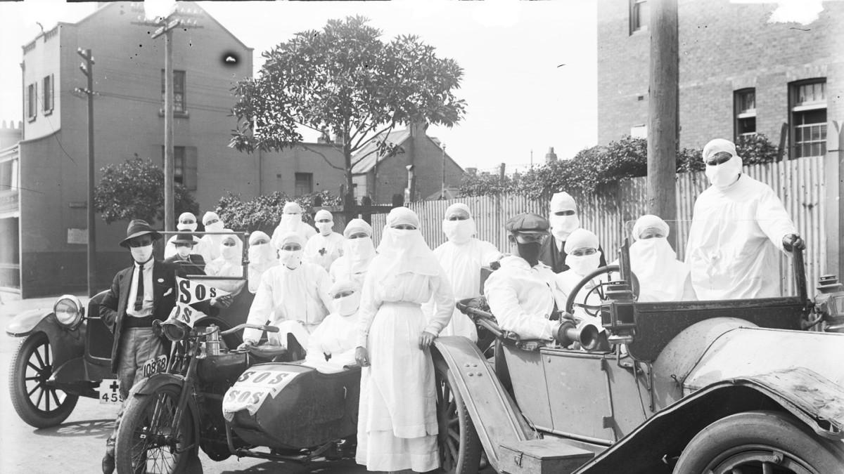 Surry Hillsin lääkintätyöntekijöitä espanjantautiepidemian aikana Uudessa Etelä-Walesissa, Australiassa huhtikuussa 1919.