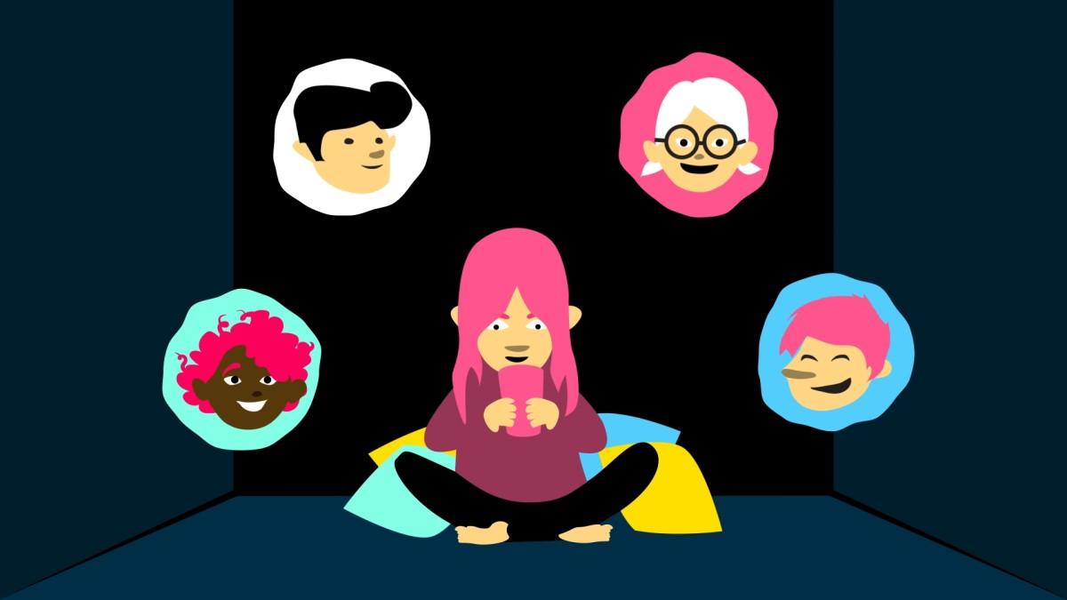 Piirretyssä kuvassa nuori ihminen puhelimen ääressä ympärillään ystäviä puhekuplissa.