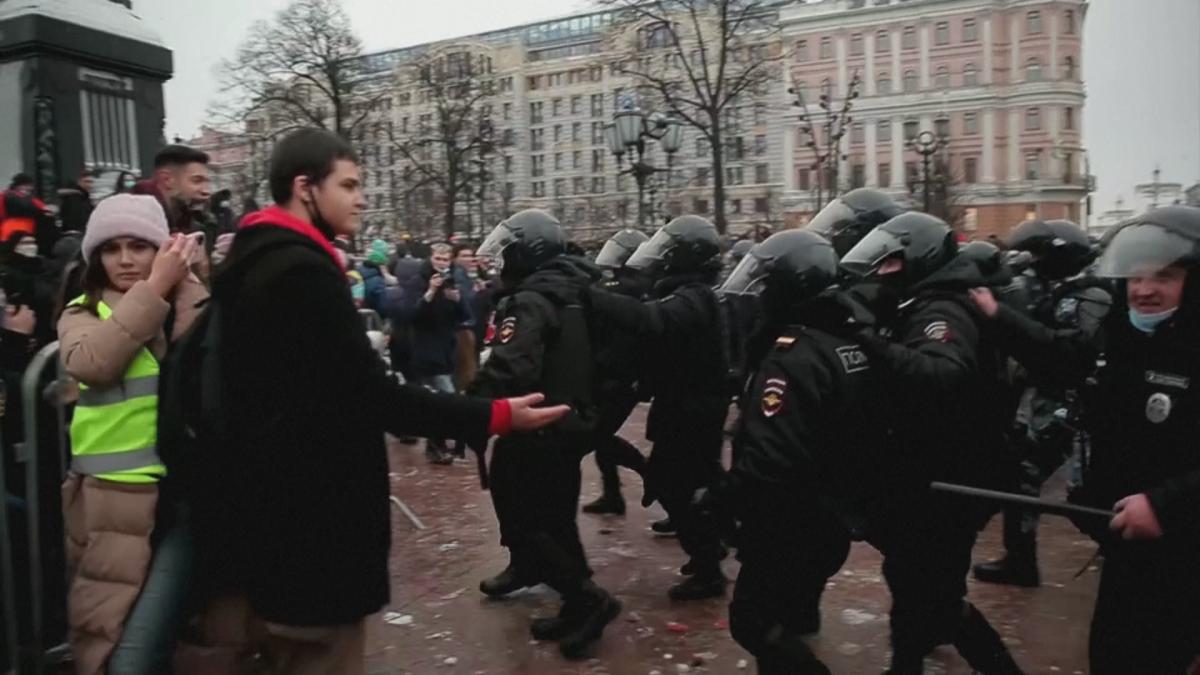 Mielenosoitus Moskovan Pushkinin aukiolla lauantaina 23.1.2021