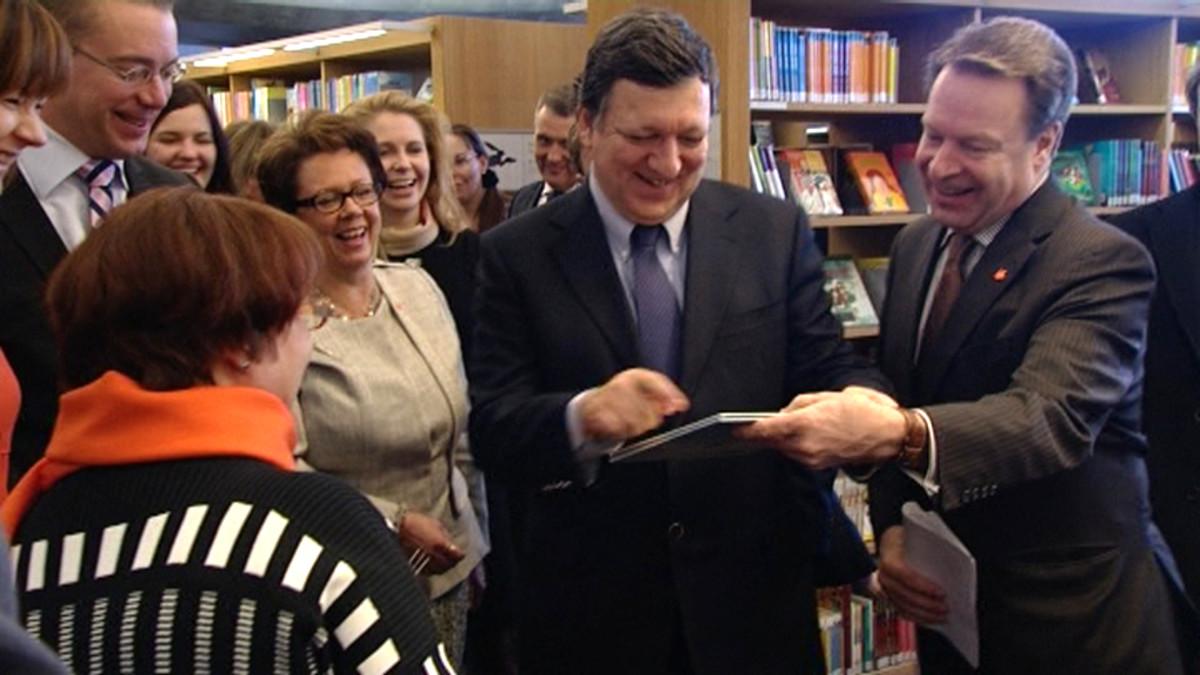 José Manuel Barroso Turun pääkirjastossa.