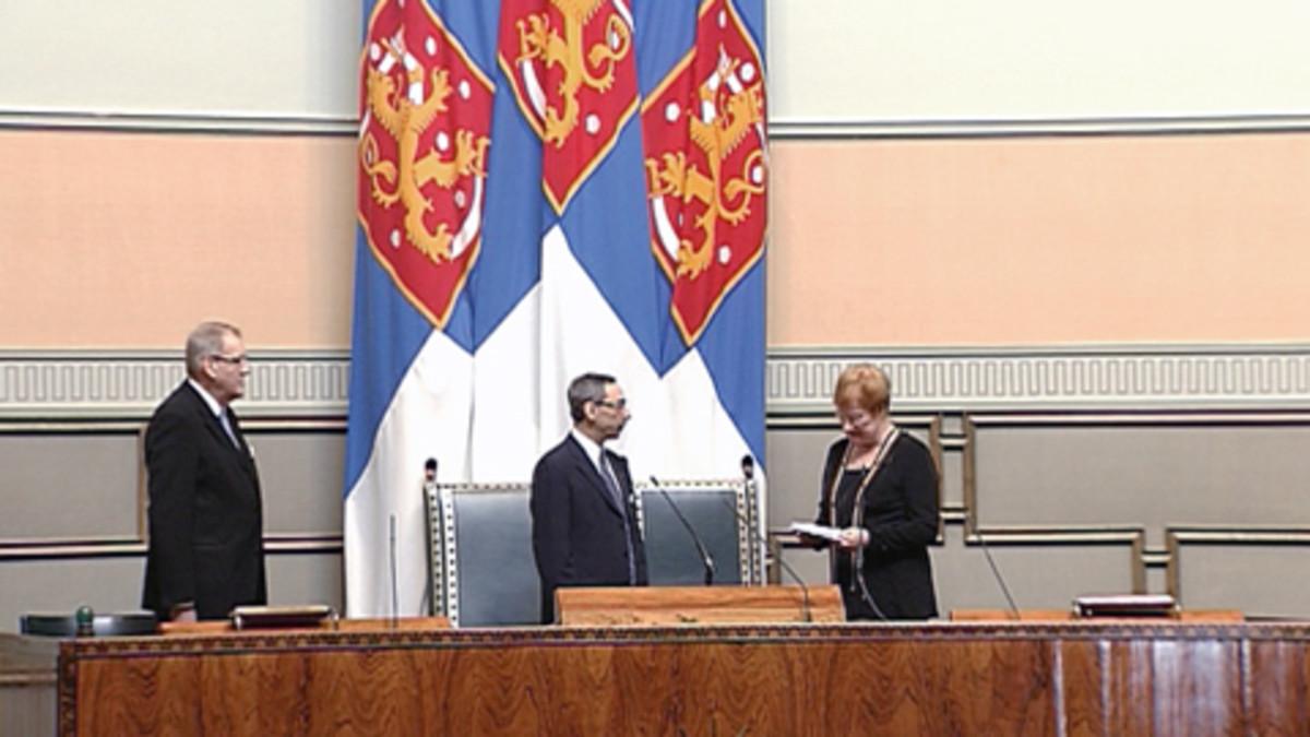 Presidentti Tarja Halonen puhuu valtiopäivien avajaisissa eduskunnassa.