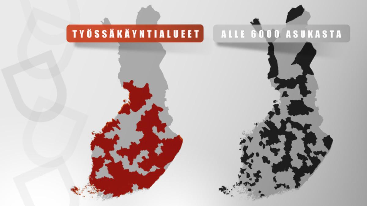 kaksi Suomen karttaa kuntien työssäkäyntialueista