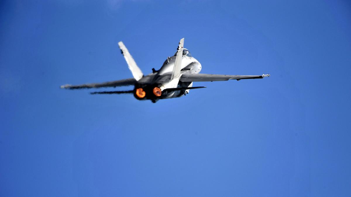 F-18 Hornet Helsinki International Airshow -tapahtumassa Helsingissä elokuussa 2009.