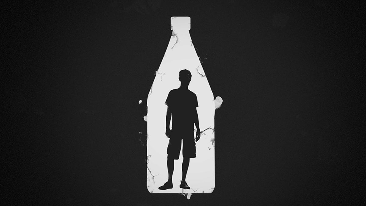Piirroskuva pojasta pullossa.