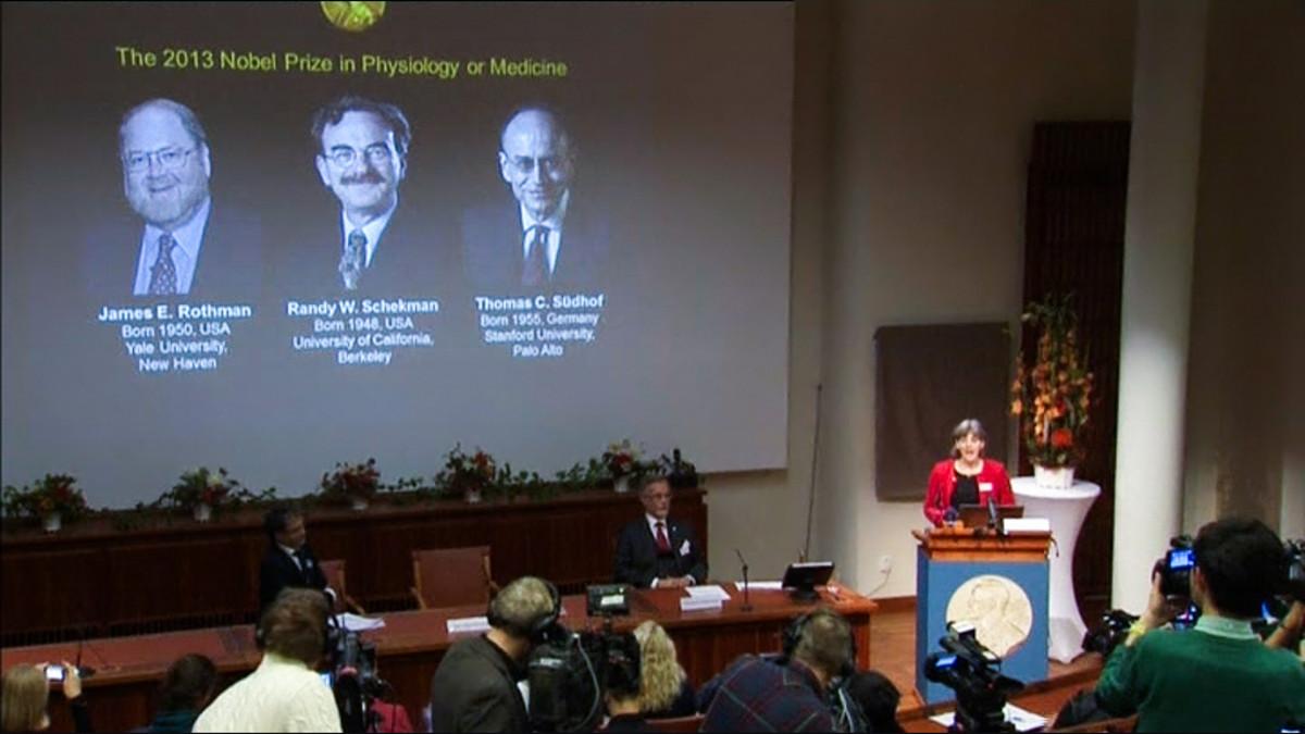 Nobel voittajat valkokankaalla lehdistötilaisuudessa