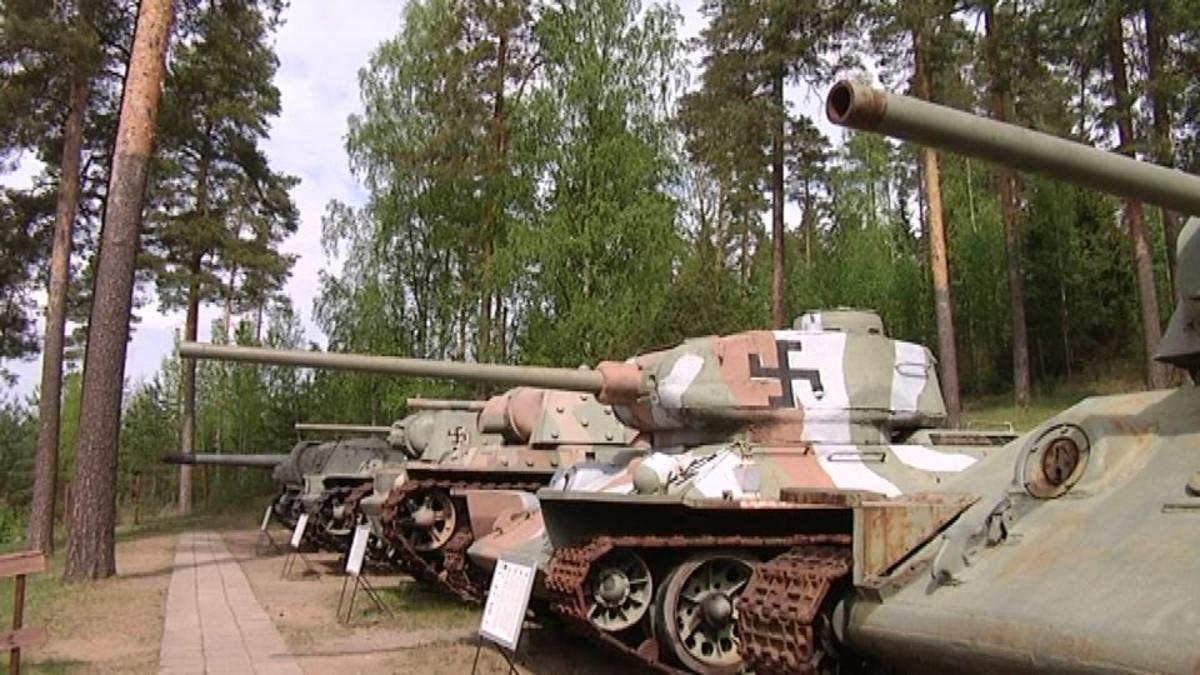 Suomen tunnuksilla olevia panssarivaunuja Parolan mäellä