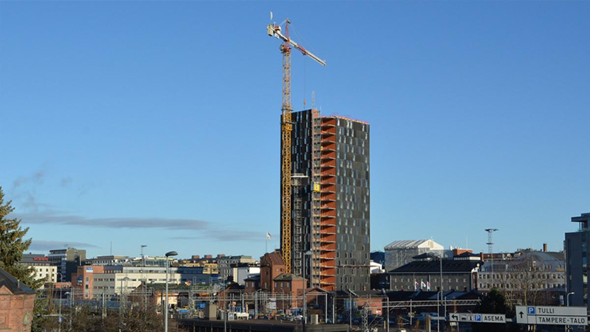 Tampereen Tornihotelli rakenteilla.