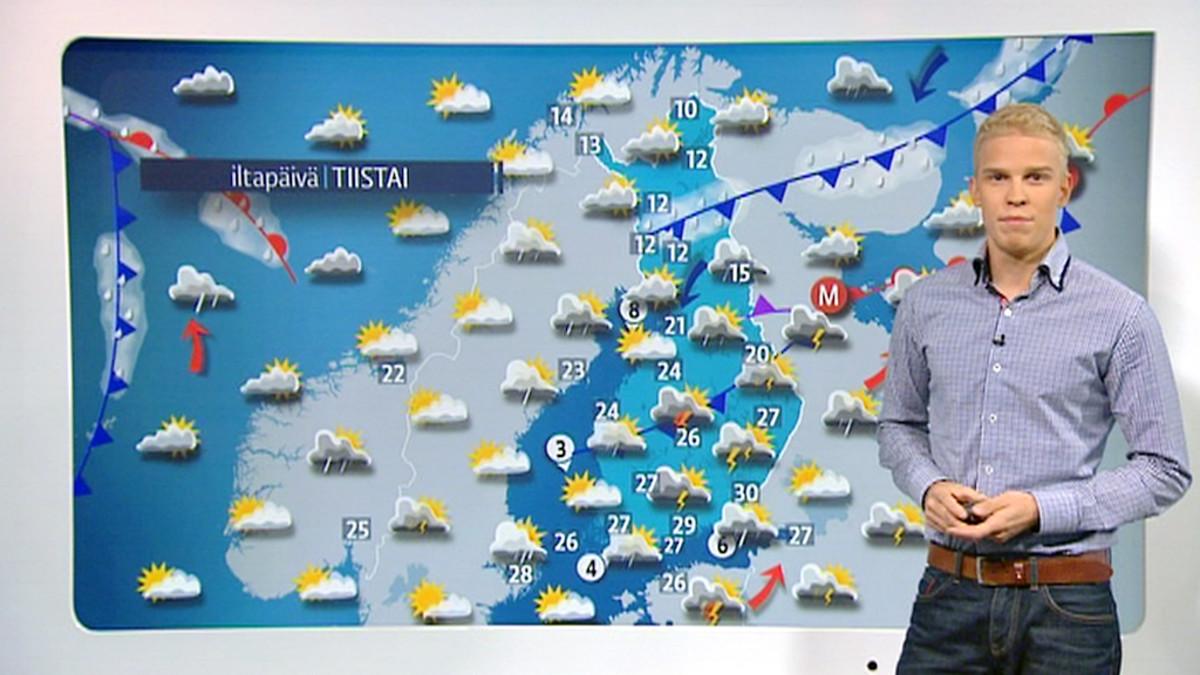 Tiistaina monin paikoin reippaita sade- ja ukkoskuuroja   Yle Uutiset   yle.fi