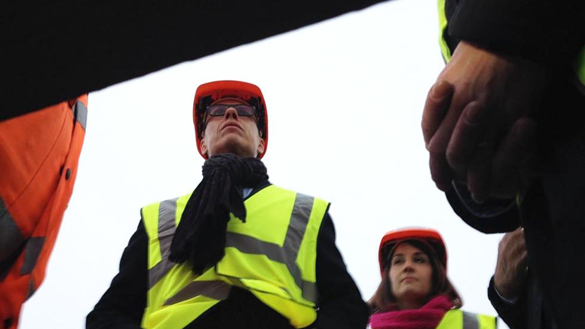 Pääministeri Aleksander Stubb vierailulla Talvivaarassa 14.11.2014.