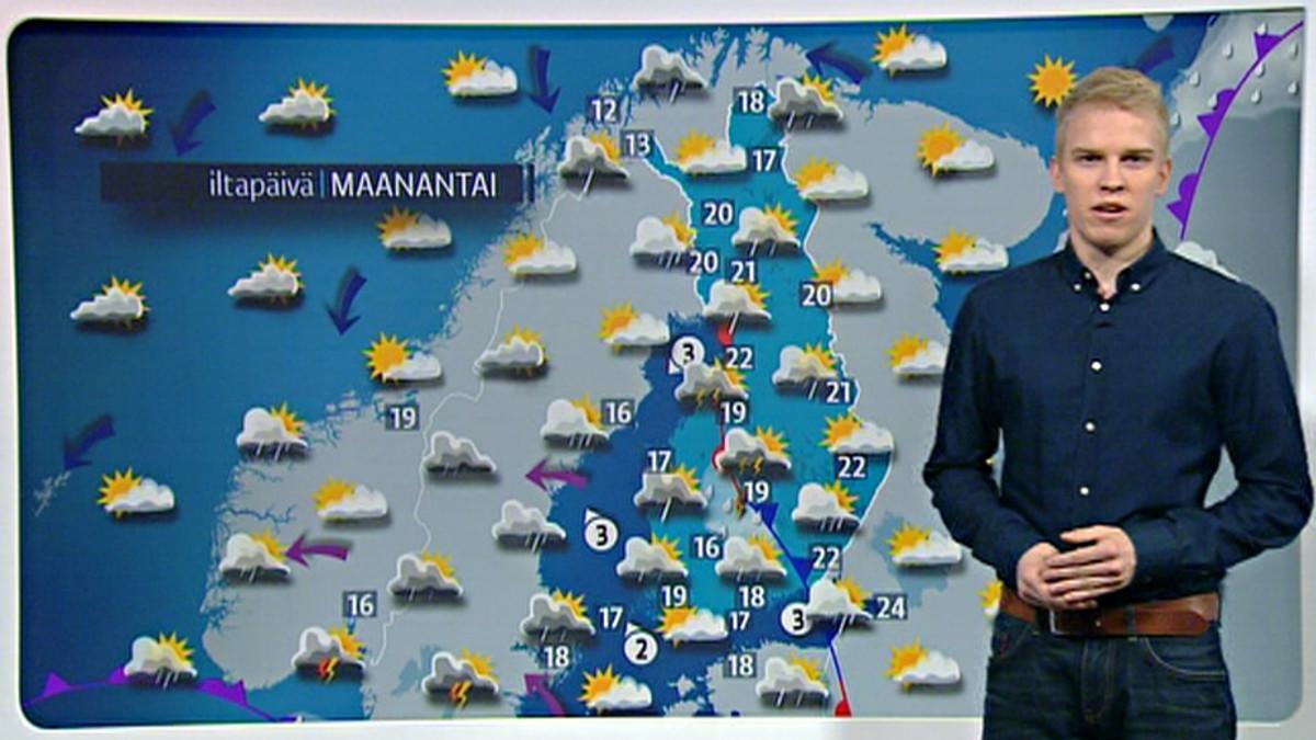 Maanantain monenkirjava sääkartta: Ukkosta, sadetta, aurinkoa   Yle Uutiset   yle.fi