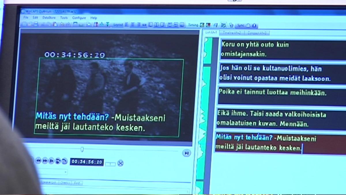 Tekstitysohjelman kuvaruutu, jossa näkyy ohjelma ja siihen tuleva tekstitys.