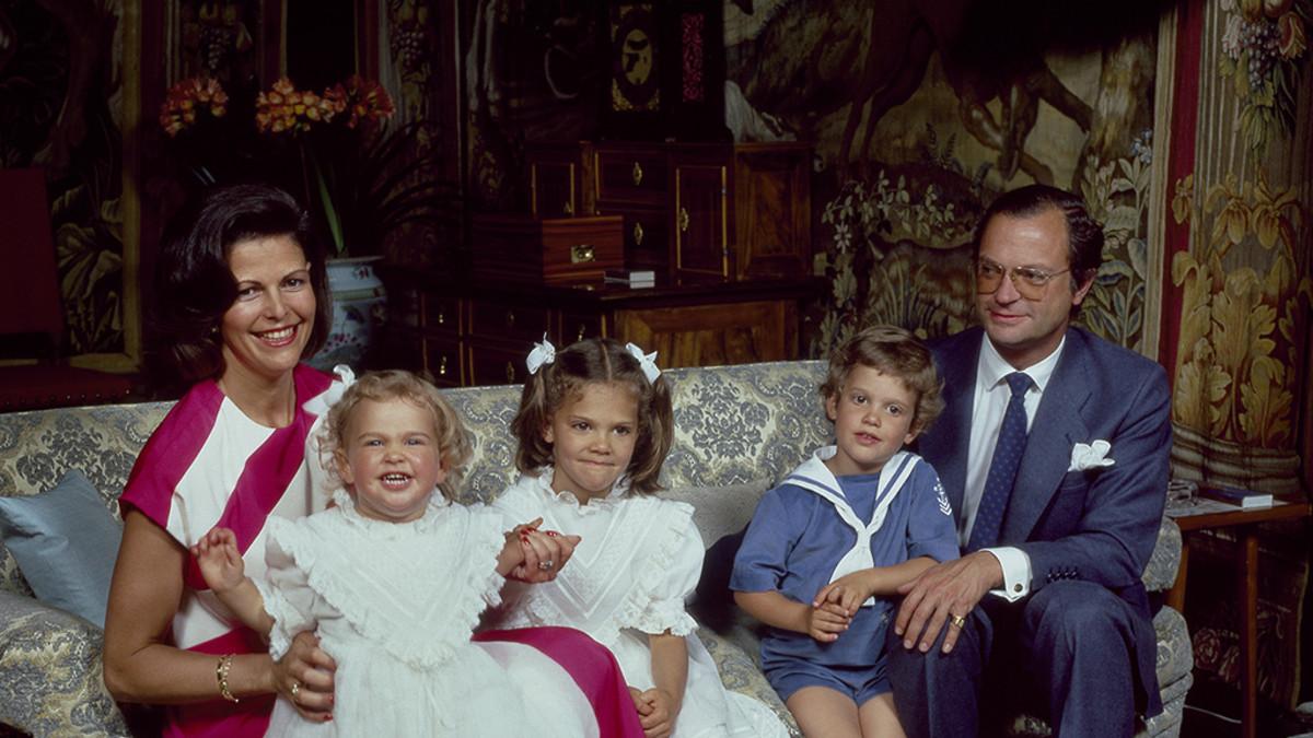 Ruotsin kuningaperhe vuonna 1984.