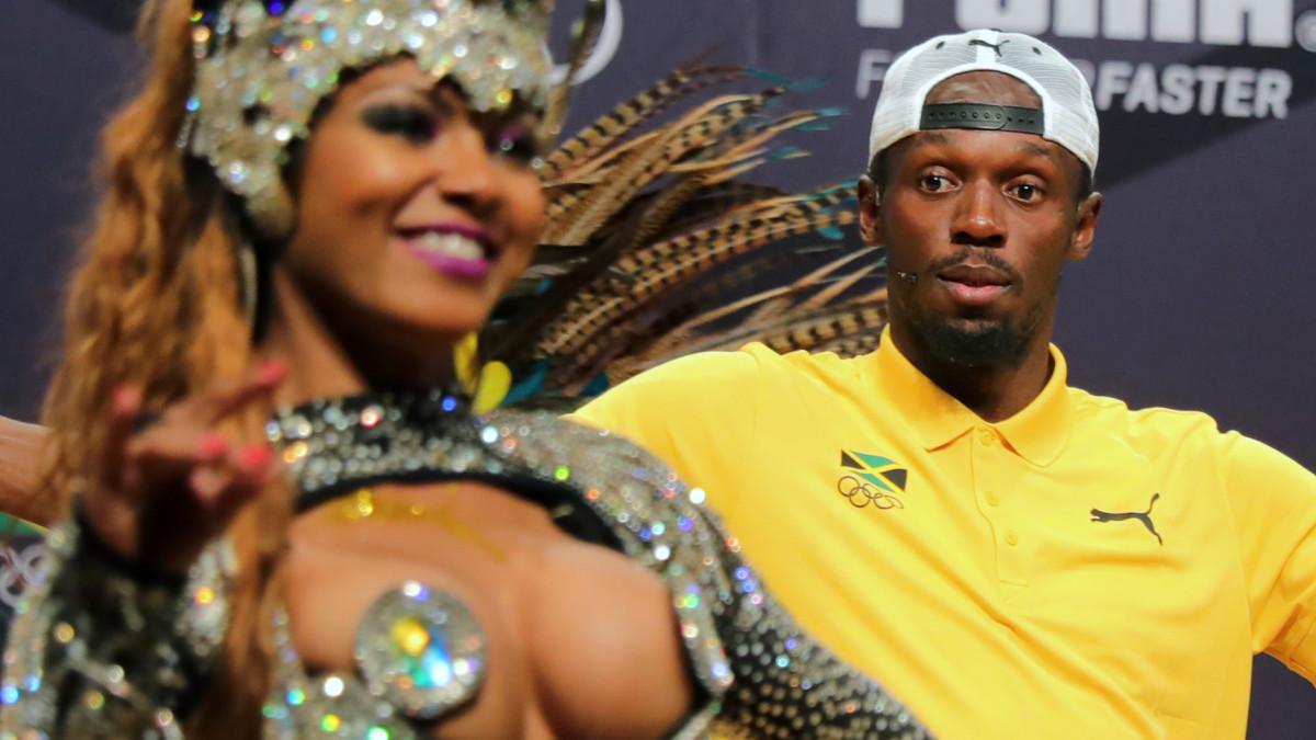 Usain Bolt Jamaikan pressissä Riossa