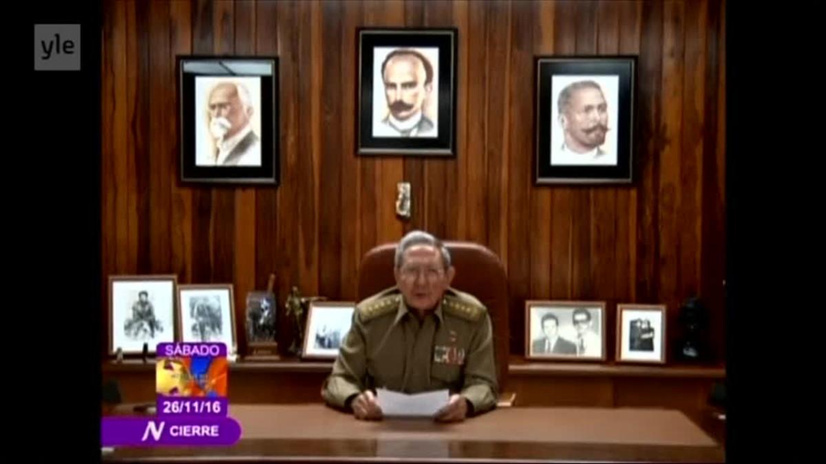 Raul Castro ilmoittaa Fidel Castron kuolemasta.