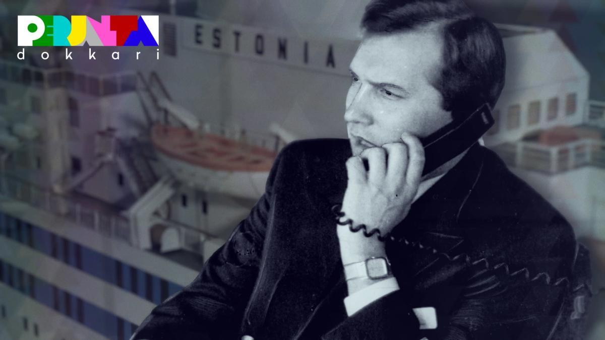 Kapteeni Avo Piht puhelimessa, taustalla Estonia laiva.
