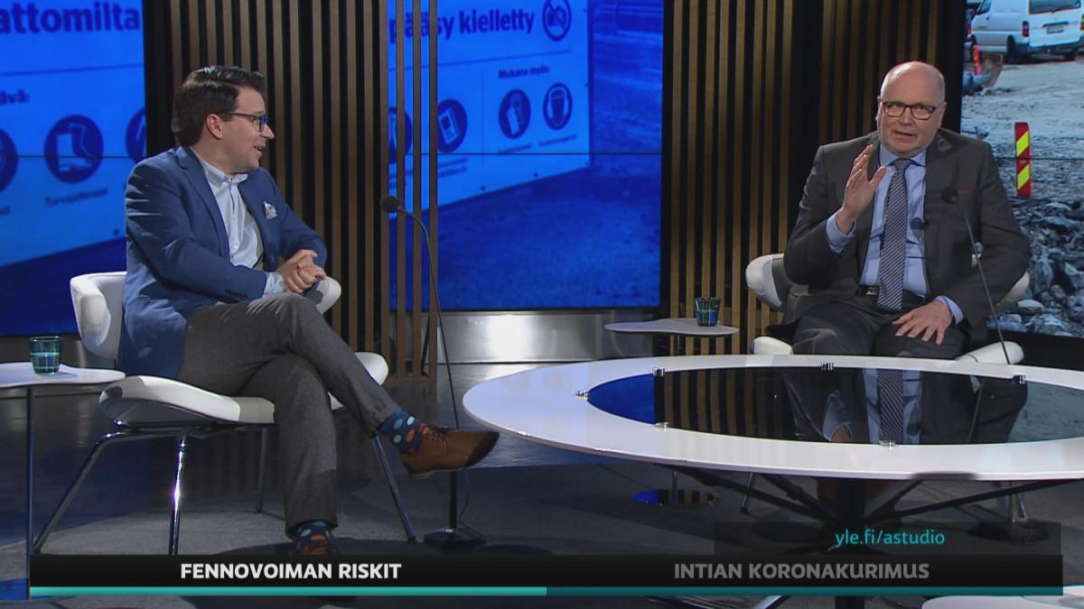 Europarlamentaariko Ville Niinistö ja Eero Heinäluoma väittelivät A-studiossa Fennvoima-hankkeesta.