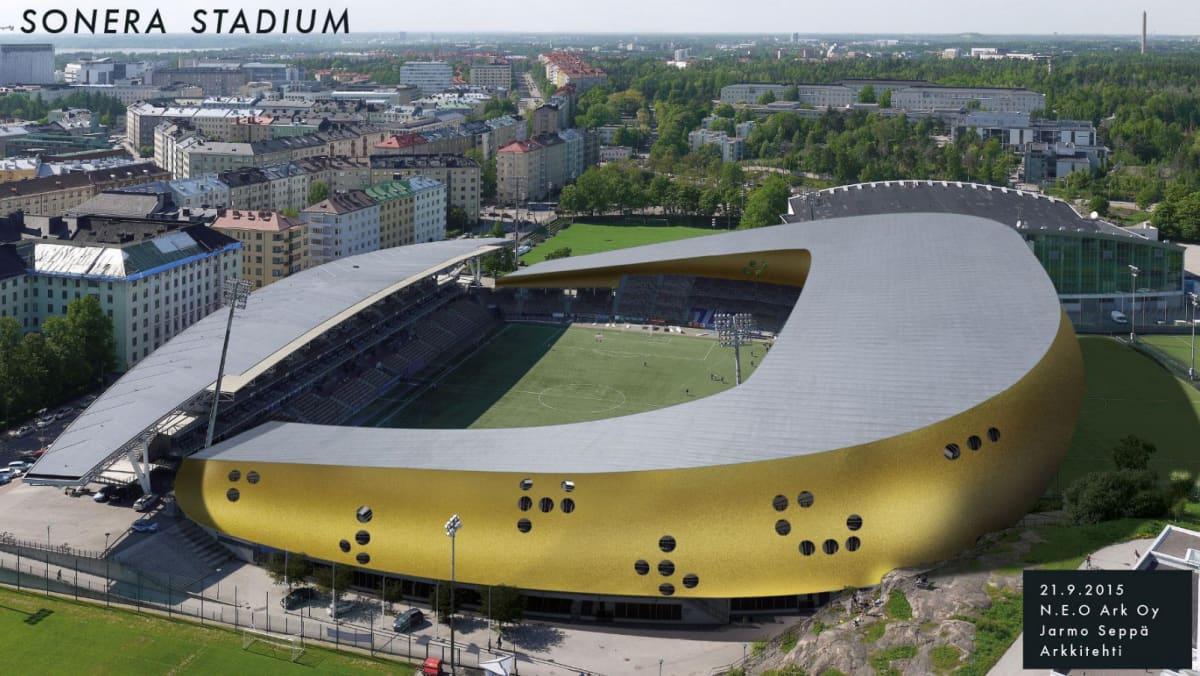 Havainnekuva Sonera Stadiumista.