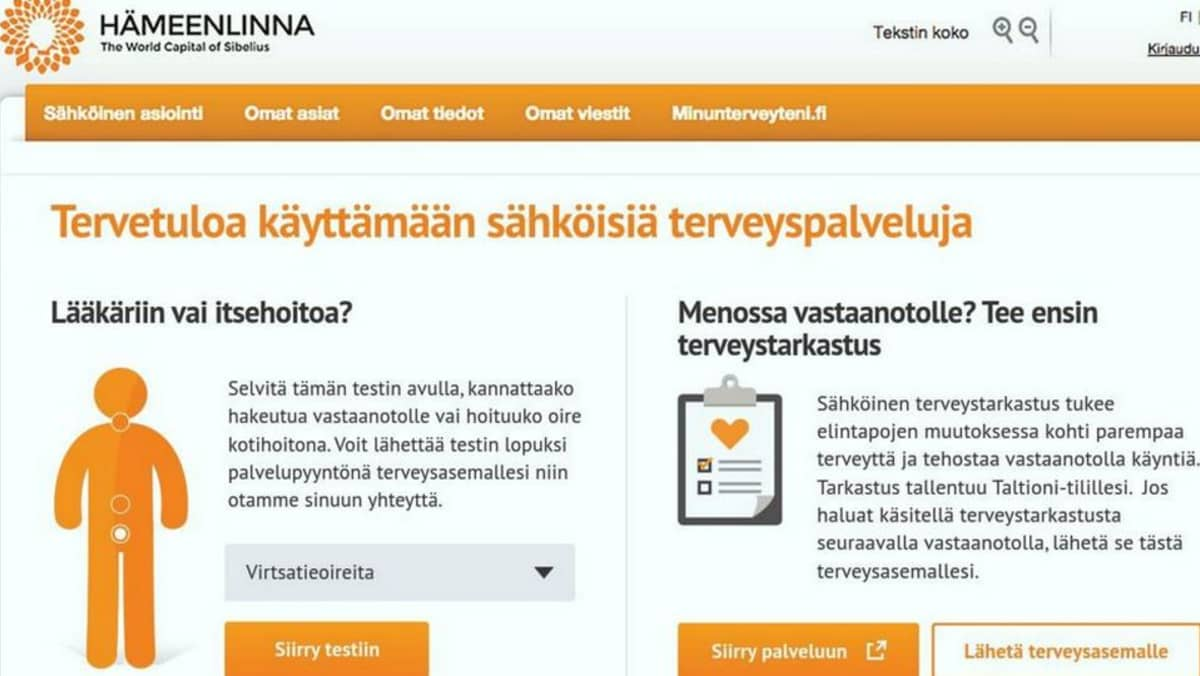Hämeenlinnan sähköiset terveyspalvelut verkossa