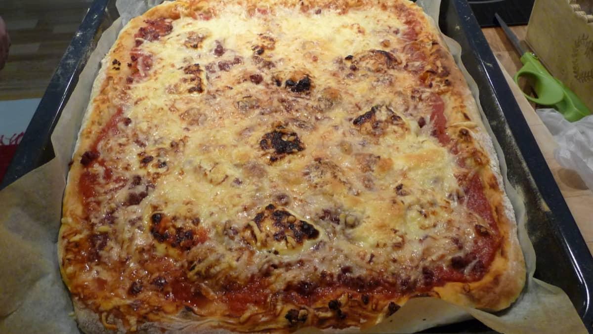 Pizza jossa on poroa ja leipäjuustoa