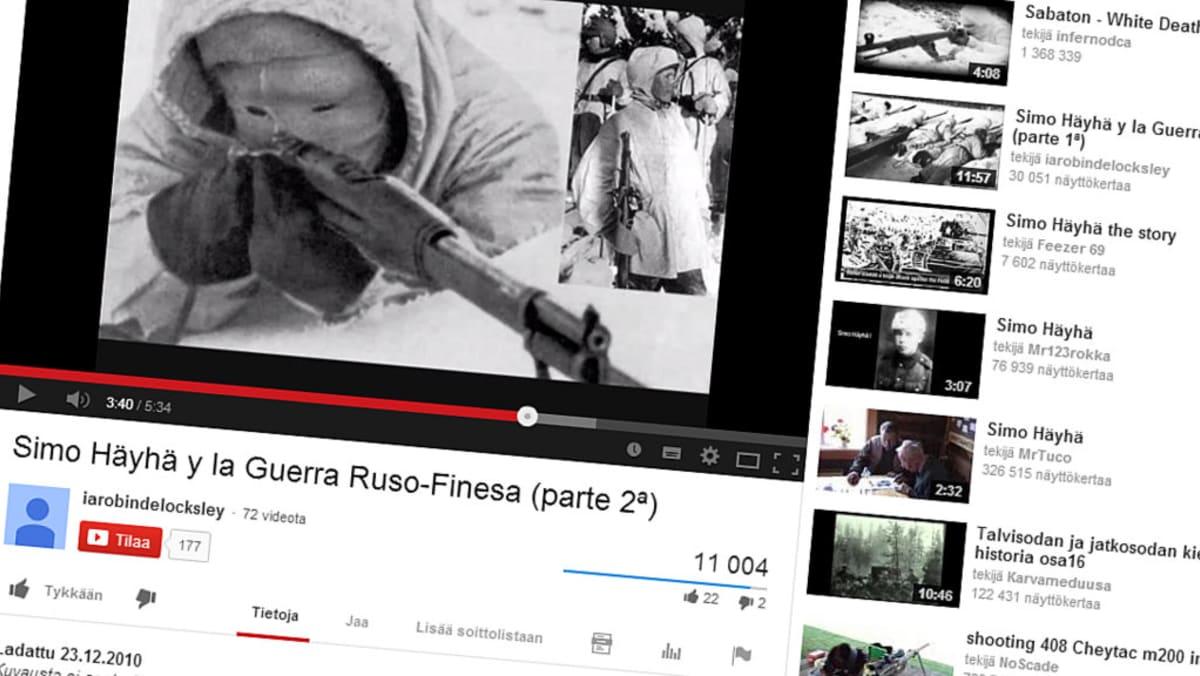 Simo Häyhästä on tehty lukuisia tribuuttivideoita YouTubeen eri puolilla maailmaa.