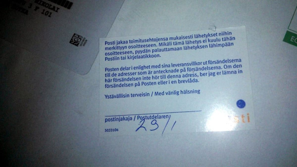 Väärään osoitteeseen tullut kirje