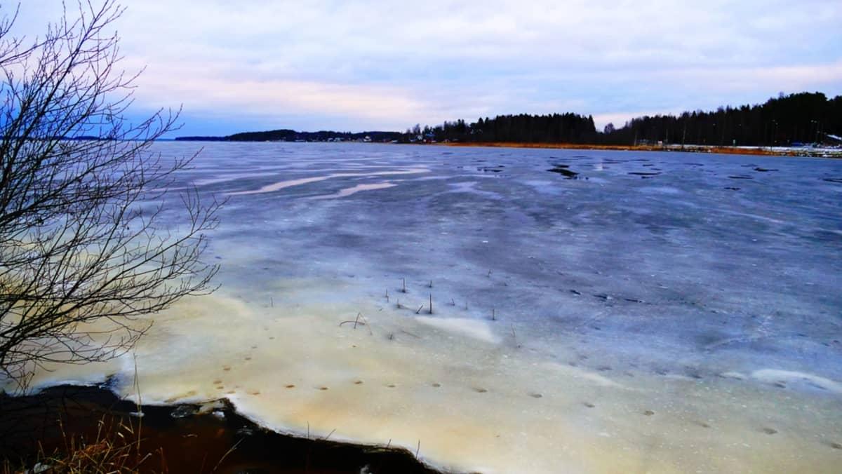 Meren rantaa ja jäätä Oravaisissa.