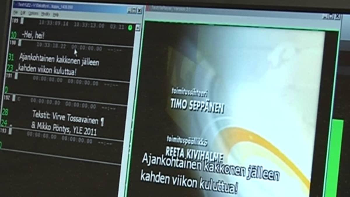 Tekstitysohjelma avoinna Ajankohtaisen kakkosen lopputekstien kohdalta.