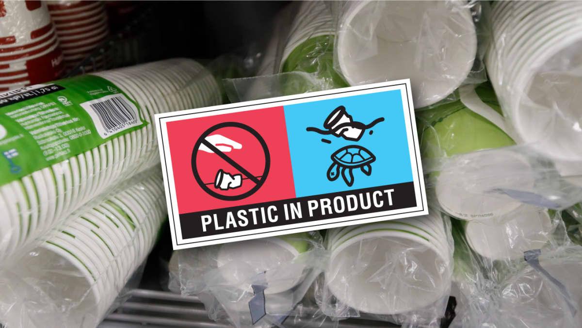 Huhtamäen valmistamia kertakäyttömukeja ja EU:n tuleva merkintä muovia sisältäville tuotteille