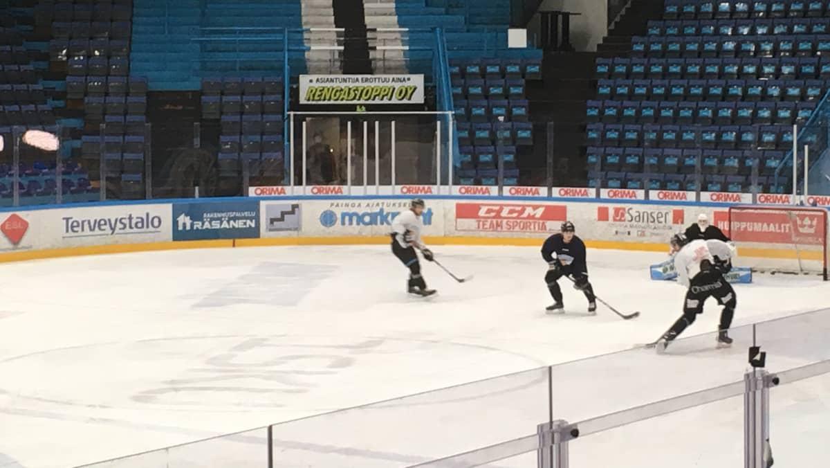 Pelicans harjoittelee Lahden jäähallissa tammikuussa 2019