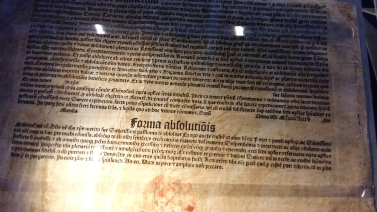 anelukirje ristiretken rahoittamiseksi v. 1485, ollut esillä Turun kirjamessuilla 2016