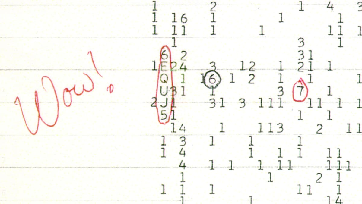 Kuva Wow!-signaalin koodista.