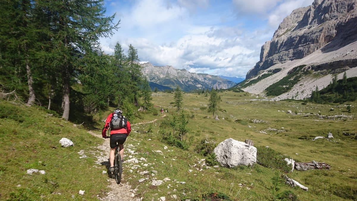 Kuvassa mies pyöräilee Alpeilla