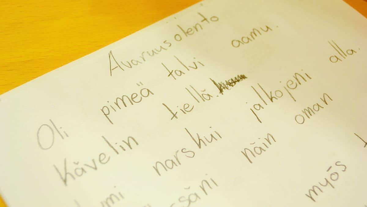 lapsen kirjoittama runo