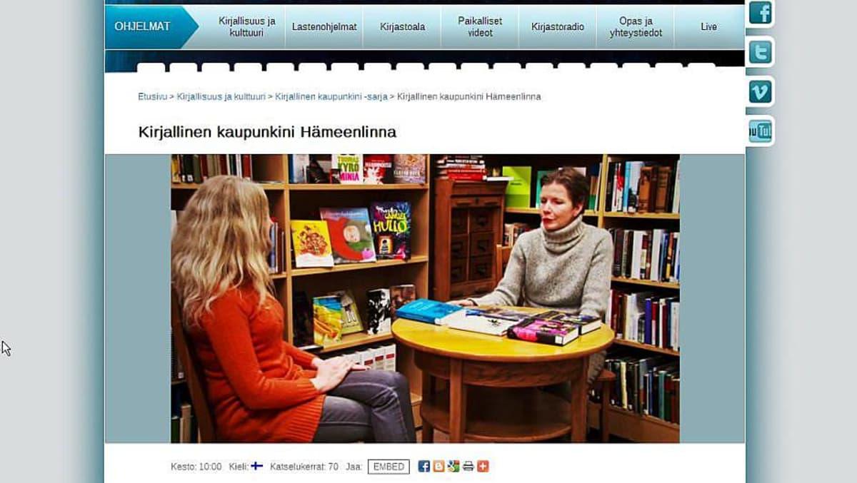 Kuva Kirjastokaistan nettisivulta Kirjallinen kaupunkini Hämeenlinna