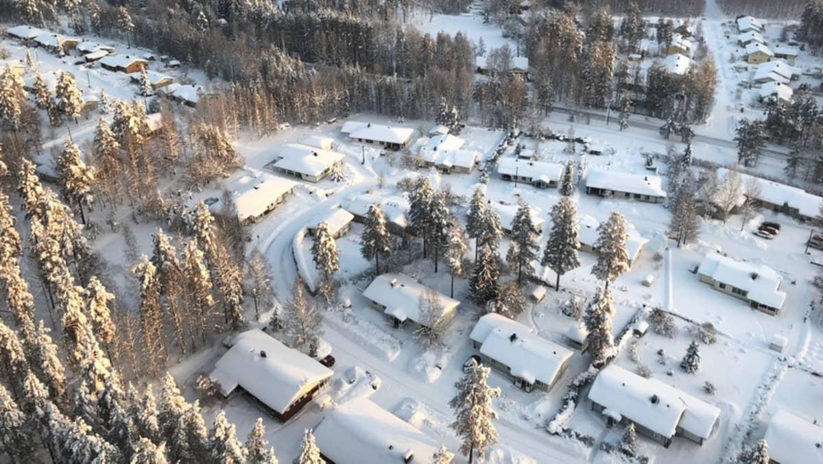 Omakotitaloja lumen keskellä.