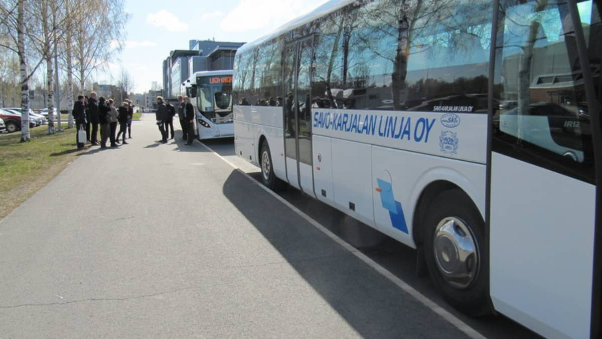 Kaksi bussia peräkkäin parkissa