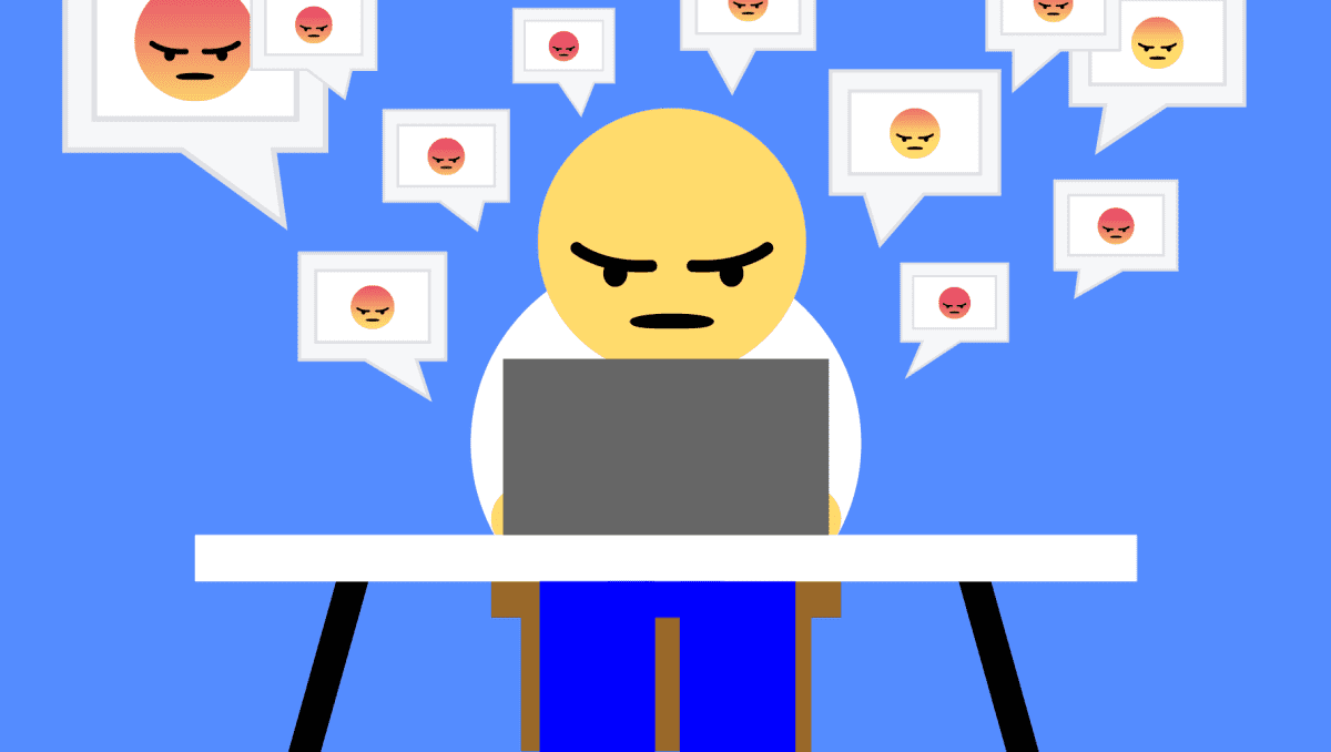 Ihmiskoe Facebookin vihakuplassa, kuvitus