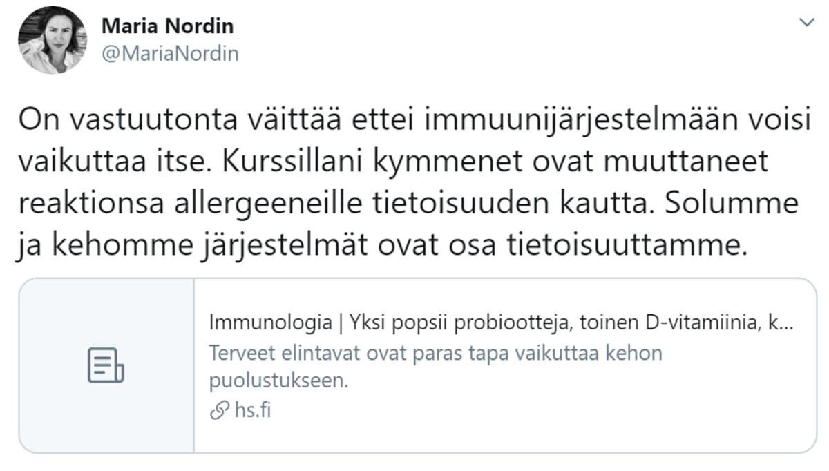 Kuvakaappaus Maria Nordinin twiitistä.