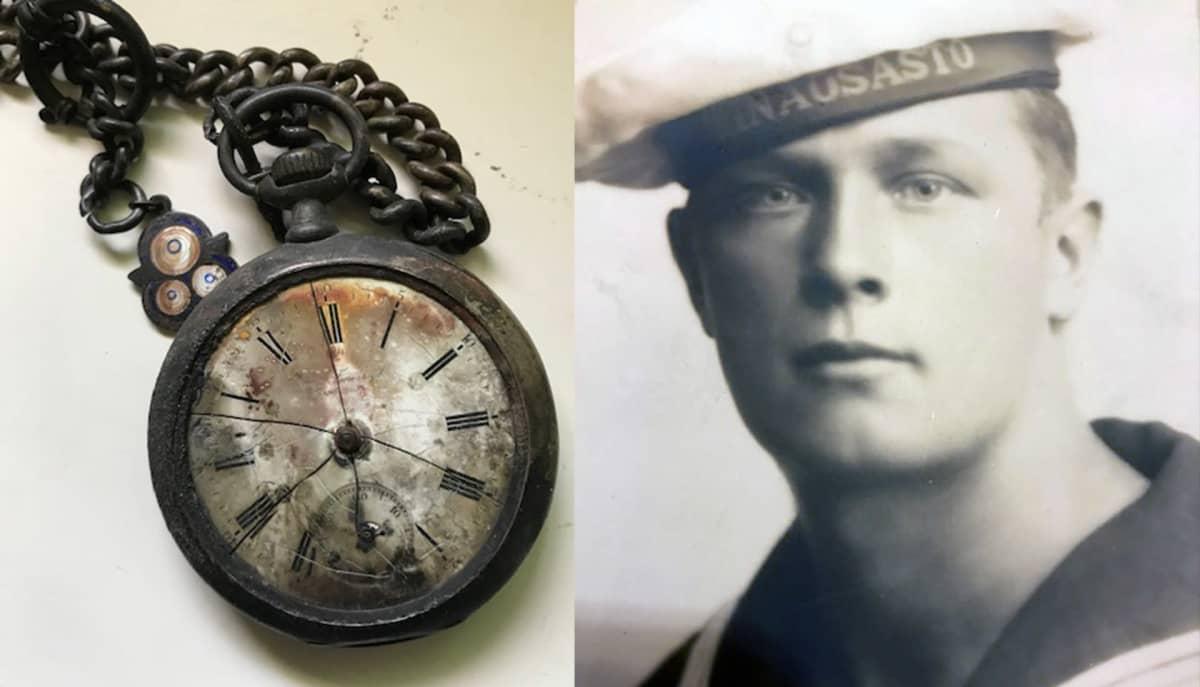 Palanut taskukello ja kuva veturinkuljettaja Jalo Leppäsestä