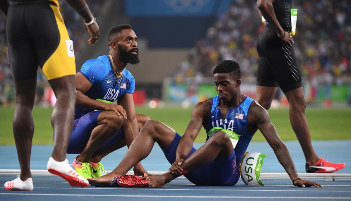 Tyson Gay ja Trayvon Bromell Rion olympialaisissa.