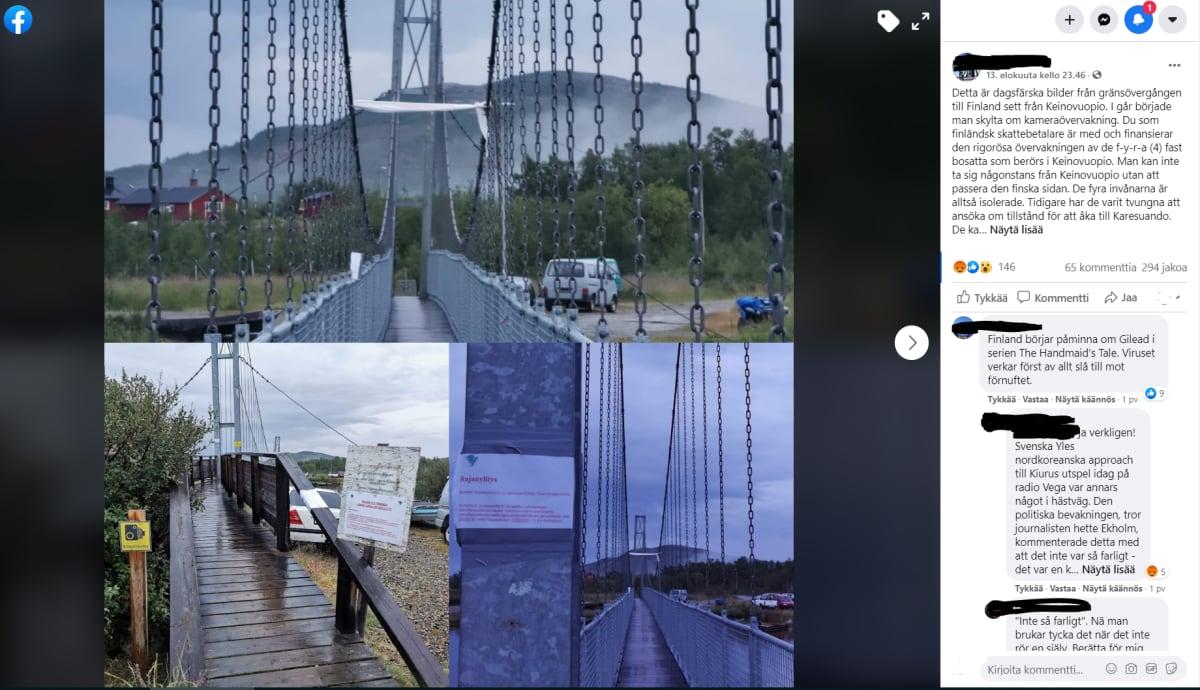 Kuvaleike Facebookin keskustelusta. Kuvassa Keinovuopion silta.