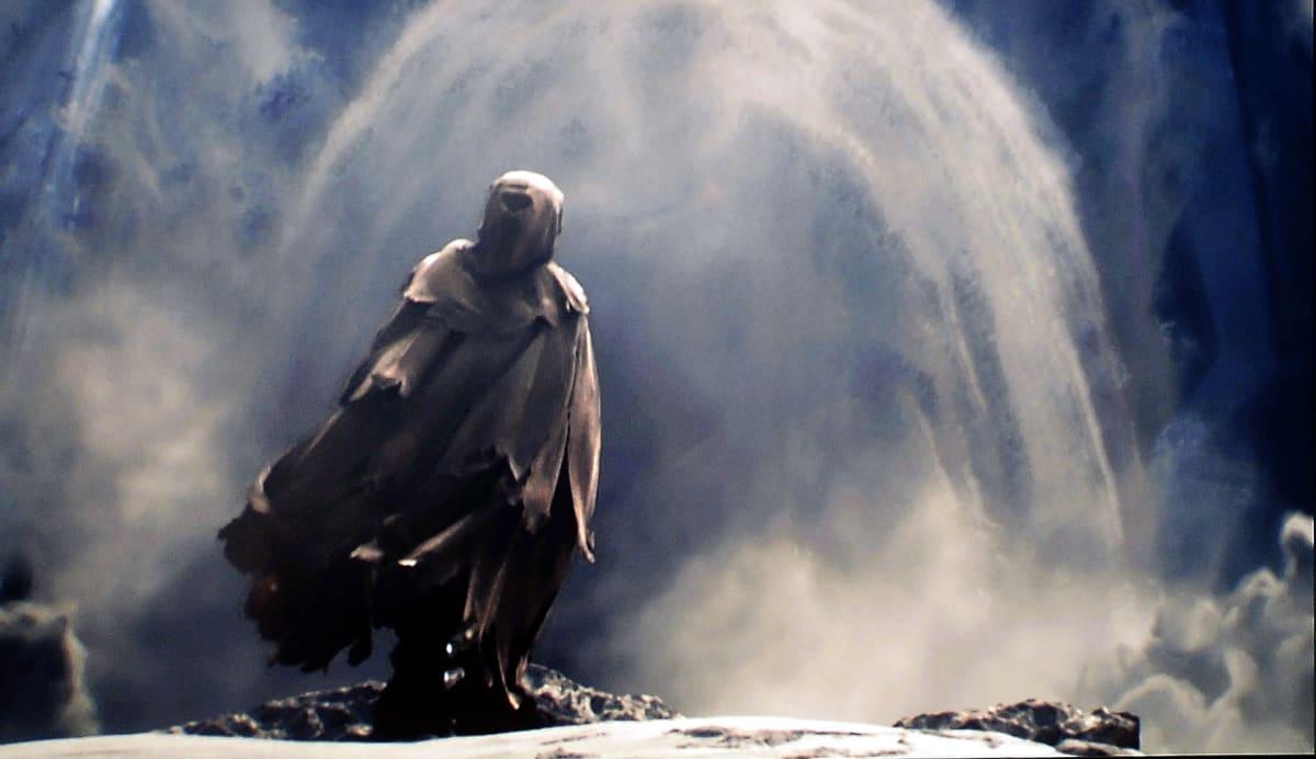 Haamumainen hahmo videpoeli Halossa.