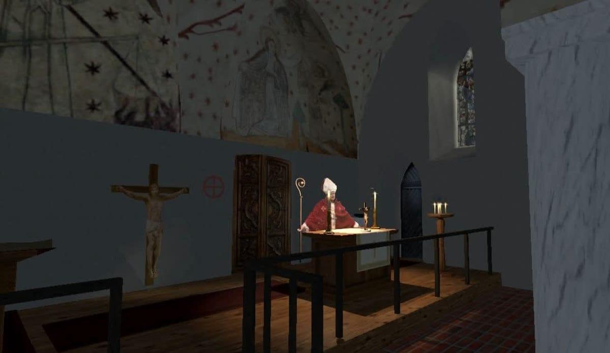 Kuusiston piispanlinna virtuaalimallin kappelihuone, jossa piispa.